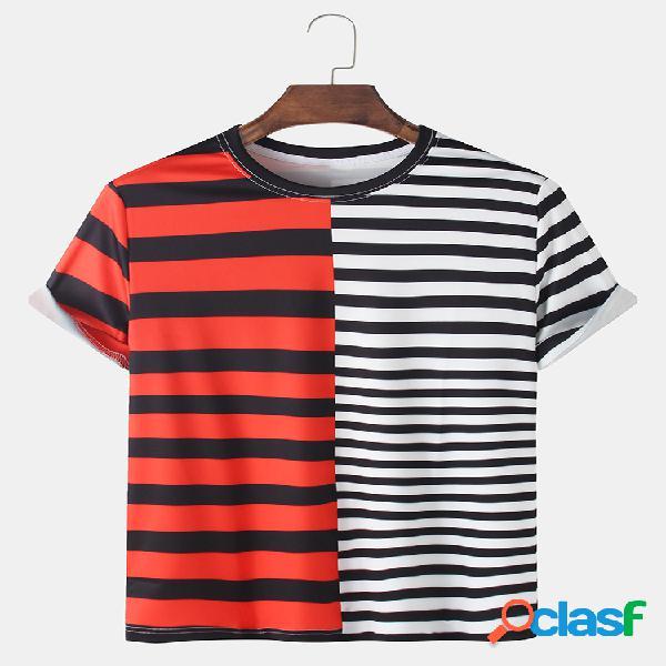 Homens patchwork e listrado impressão respirável loose o-neck camisetas