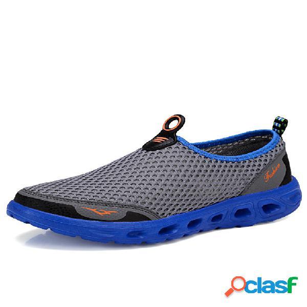 Favo de mel malha respirável secagem rápida casual sapatos de praia para homens