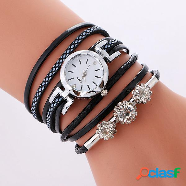 Relógio de quartzo luxuoso feminino