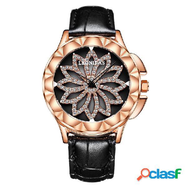 A flor giratória dos diamantes do couro luxuoso olha relógios requintados impermeáveis coloridos para mulheres