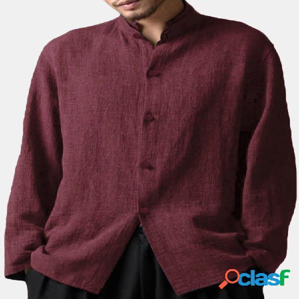Camisa vintage solta casual masculina de linho estilo chinês gola alta