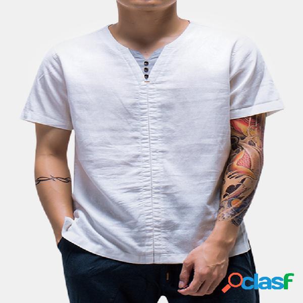 Camiseta vintage casual de linho estilo chinês cor sólida manga curta