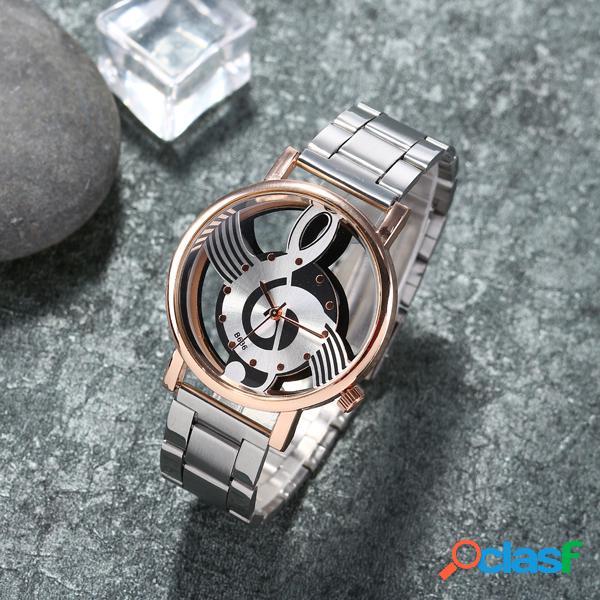 Relógio casual aço inoxidável modelo de nota musical