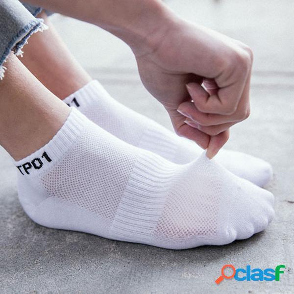 Verão dos homens de algodão respirável cor sólida tpo1 padrão meias tornozelo antiskid profundo confortável casual