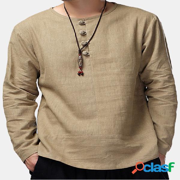 Camiseta vintage solta estilo chinês linho de algodão cor sólida manga longa