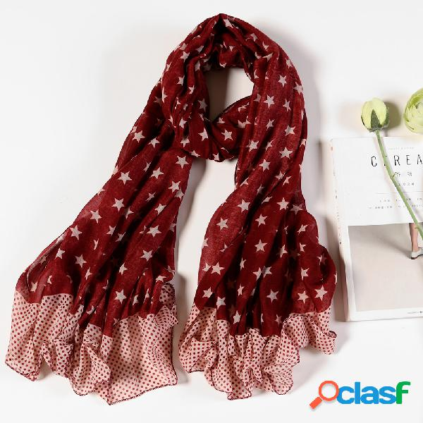 Mulheres algodão fino pentagrama patchwork cor lenços longos casuais xale lenço