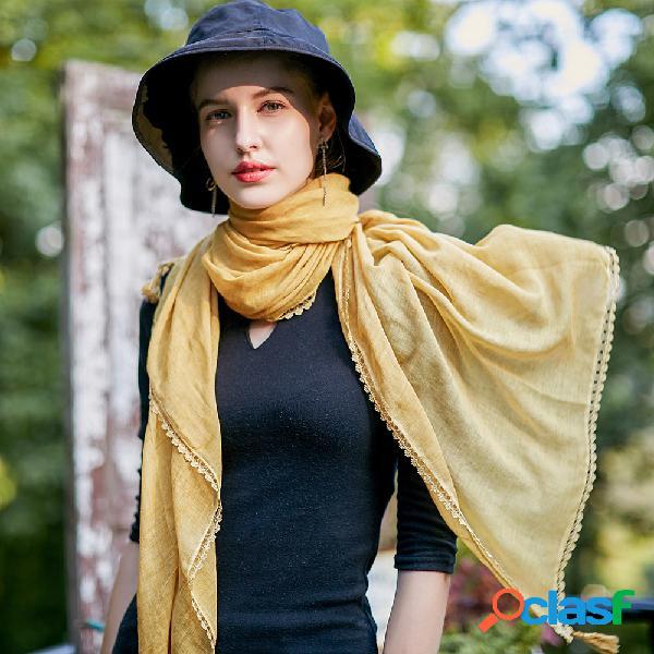 Mulheres de cor sólida lenços de linho de algodão com franja de rendas guarda-sol fino cachecol xale