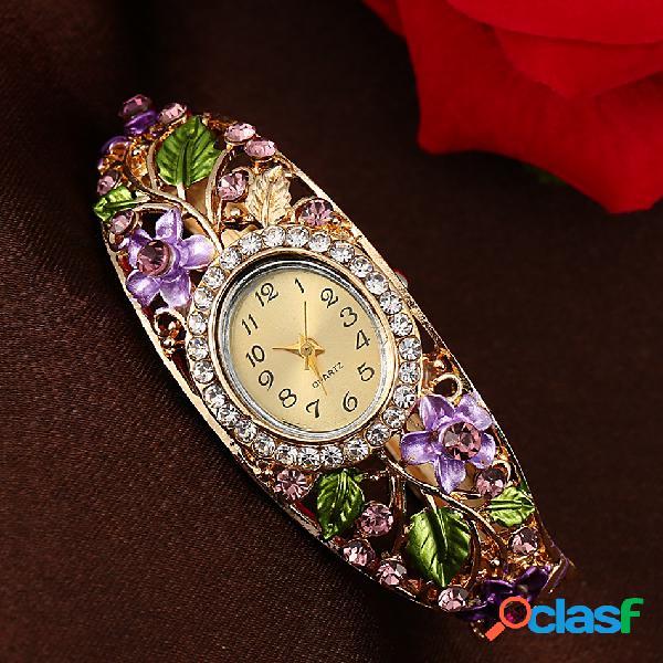 Mulheres de luxo cloisonne flor relógio de ouro clássico pulseira de cristal relógio de quartzo relógio de pulso para as mulheres