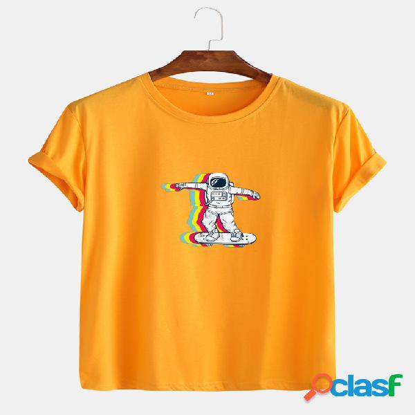 Astronauta de algodão masculino com impressão em gola redonda casual camisetas de manga curta