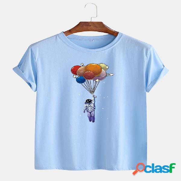 Astronauta masculino colorful planet star print algodão o-neck t-shirts casuais de manga curta