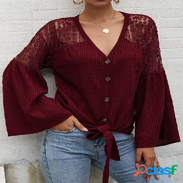 Blusa casual de manga comprida oca com decote em v para mulheres