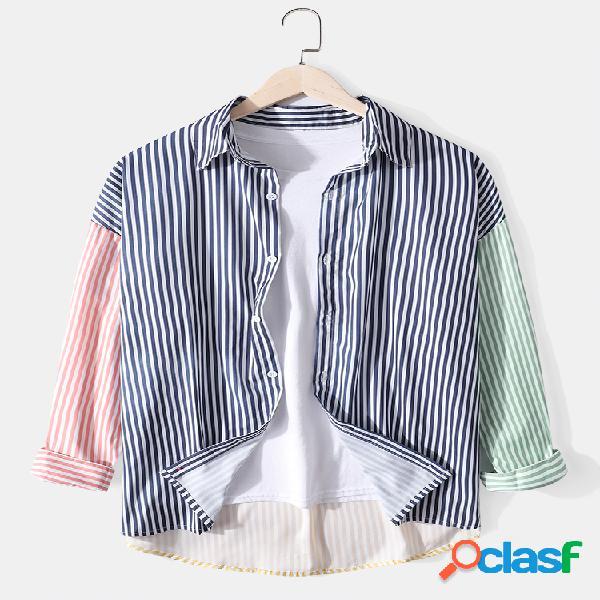 Camisas masculinas listradas com contraste de cor patchwork de algodão de manga longa