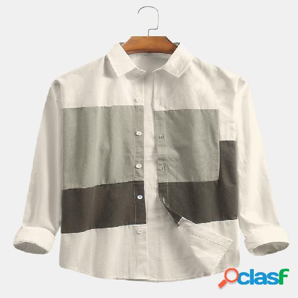Masculino color block patchwork algodão solto camisas casual de manga longa