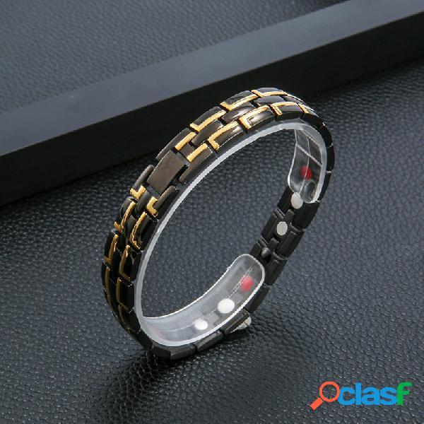 Pulseira de corrente de aço inoxidável masculino de 12 mm 4 em 1 energy ímã bracelete para presente de joias para cuidados de saúde