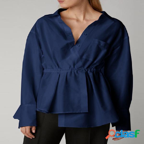 Bainha elástica assimétrica cintura decote em v lapela moda blusa tamanho plus