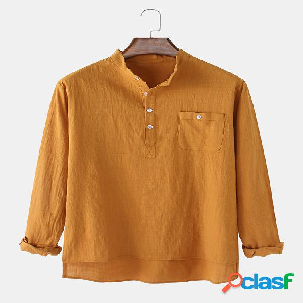 Camisa masculina de linho de algodão de cor sólida com gola longa manga longa henley camisas com bolso
