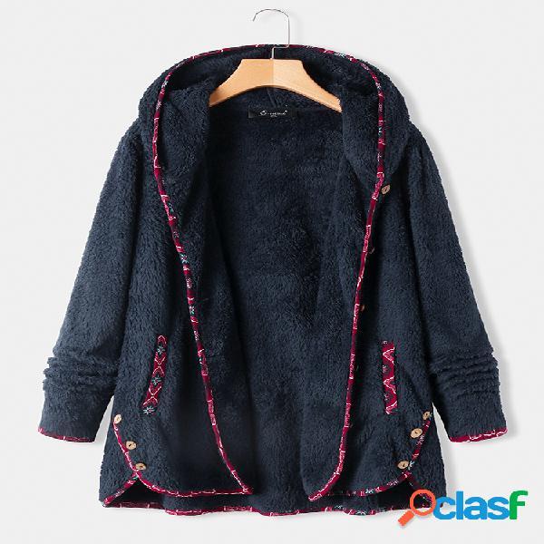 Fleece floral print patchwork plus casaco com capuz tamanho e bolsos