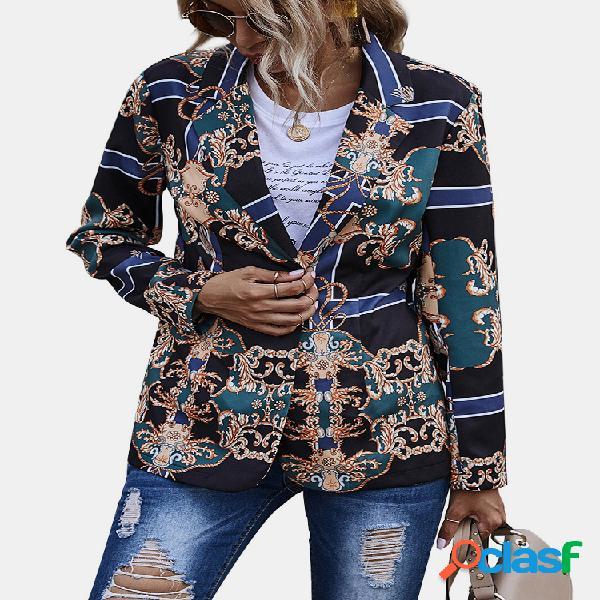 Jaqueta de manga comprida étnica com estampa geométrica vintage