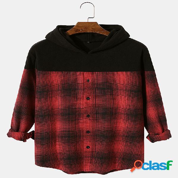 Mangas compridas mangas compridas com mangas compridas patchwork patchwork masculino camisa casacos com capuz