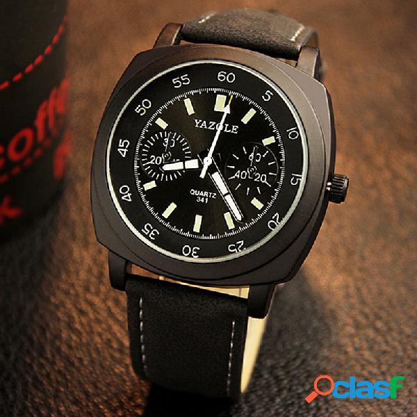 Relógio masculino quadrado da moda relógio de quartzo ajustável à prova d'água luminosa