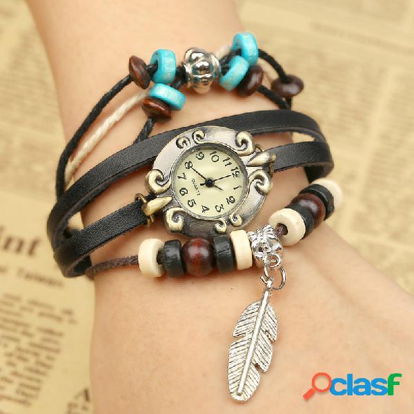 Relógio multicamadas com pulseira de couro de vaca com contas folha pingente relógio ultrapequeno de quartzo unissex