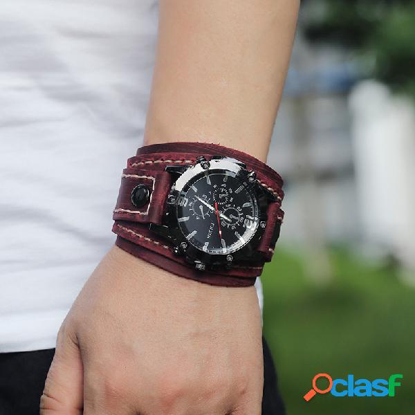 Relógio vintage com pulseira de couro de vaca costurado à mão e pequeno relógio masculino de quartzo de três mãos falso