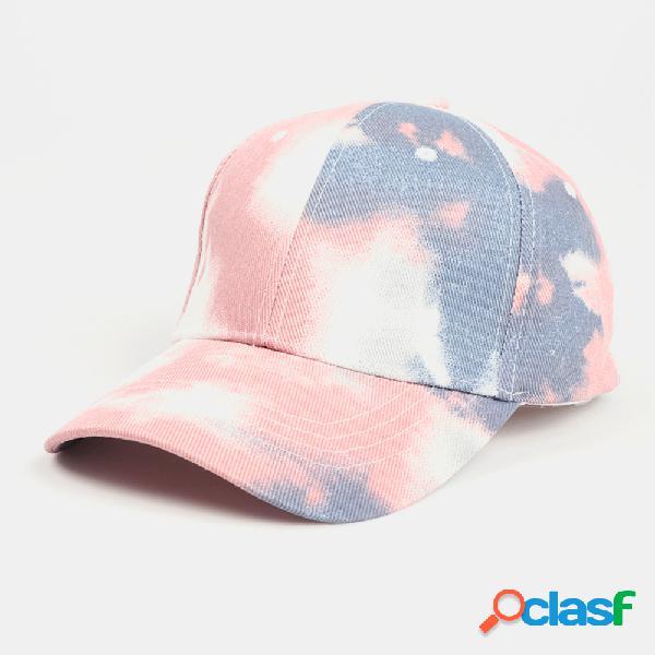 Unissex tie-dye algodão multi-color gradient color protetor solar visor sun chapéu beisebol chapéu
