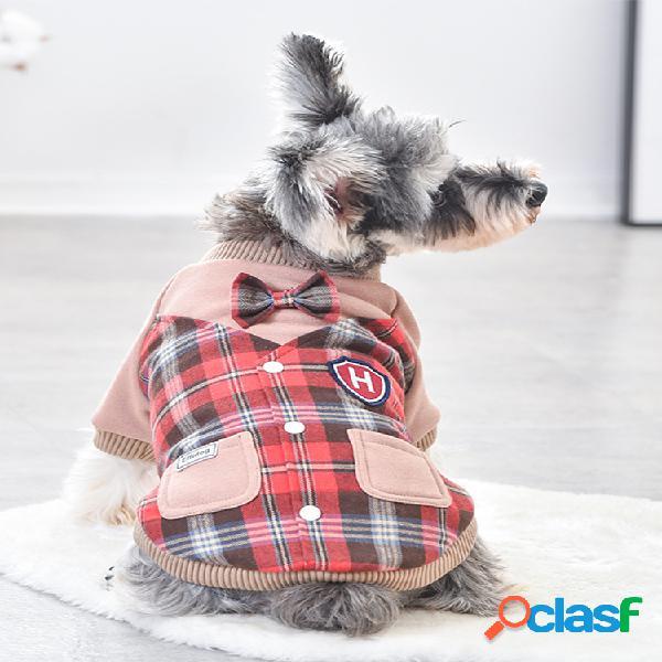 Casaco de duas peças falso estilo britânico para animais de estimação inverno cachorro casaco quente plus de veludo de duas pernas de algodão