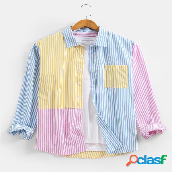 Macaron masculino listrado em patchwork de algodão, camisas de manga longa com bolso