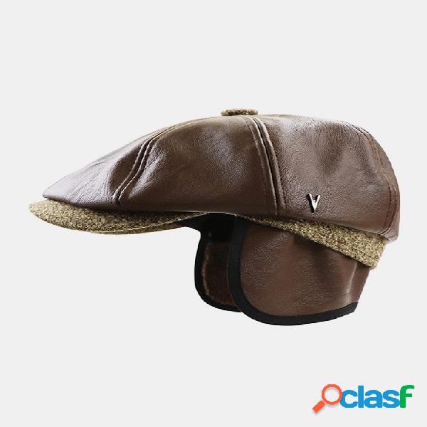 Masculino couro sintético retrô casual cor sólida para a frente chapéu octogonal chapéu tampa plana