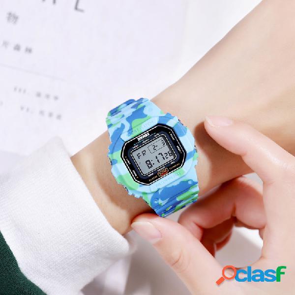 Relógio esportivo masculino feminino e feminino com mostrador retangular cronômetro à prova d'água led colorful relógio digital