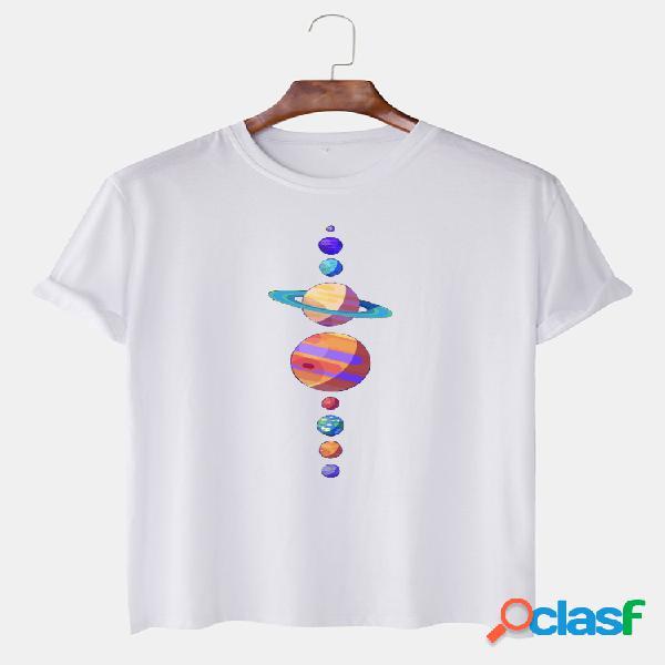 Camisetas de manga curta casual masculina com estampa de algodão multicolorido em volta do pescoço