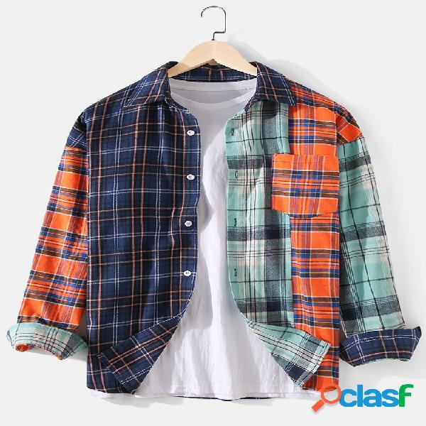 Mens xadrez patchwork algodão manga solta lapela camisas de manga comprida com bolso
