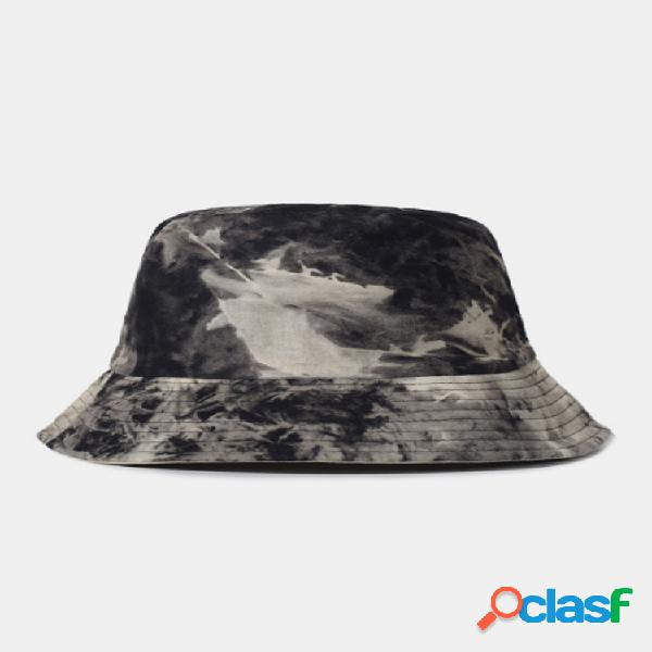 Protetor solar externo de algodão com dupla face tie-dye masculino chapéu balde chapéu