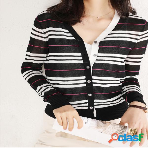 Suéter feminino listrado de manga comprida com decote em v