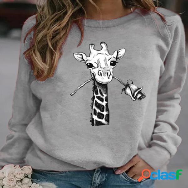 T-shirt feminina de manga comprida casual estampa de desenhos animados girafa