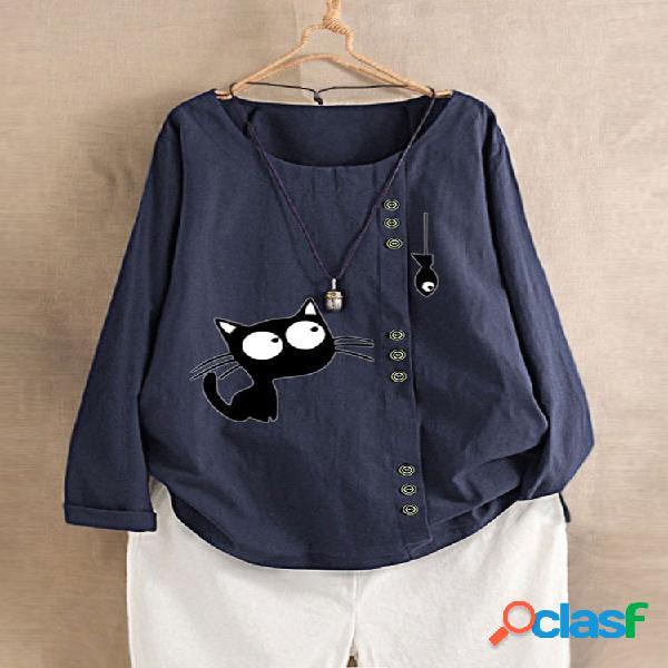 Feminino o-pescoço manga comprida gato impresso camisa