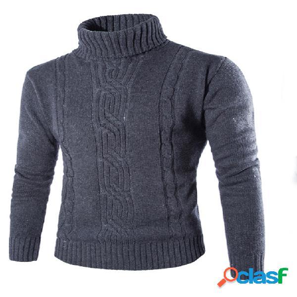 Suéteres de gola alta tricotada com torção de cor sólida estilo breve masculino