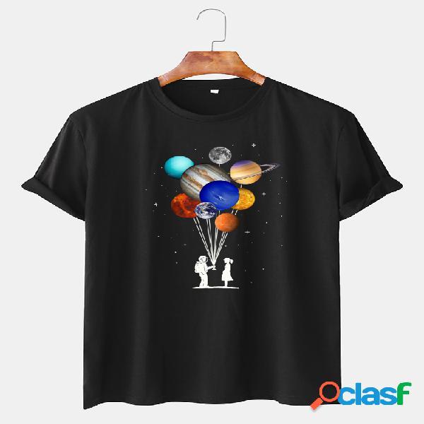 Astronauta de algodão masculino colorful planet print camisetas de manga curta casual com decote em o