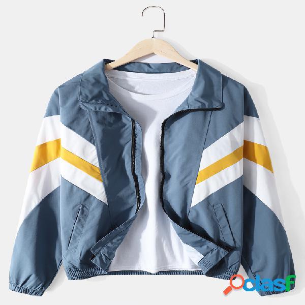 Jaquetas de lapela com gola descontraída de algodão patchwork de algodão colorido com zíper frontal
