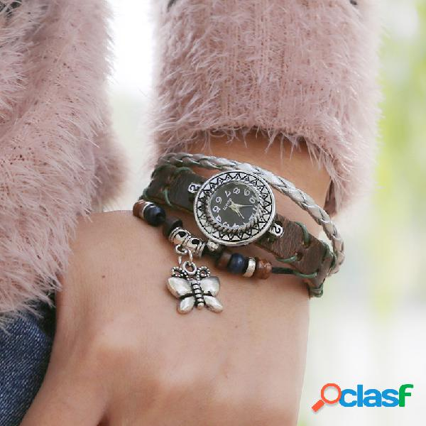 Relógio vintage pulseira de couro de vaca com três camadas ajustável borboleta unissex de quartzo