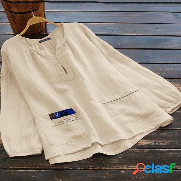 Blusa casual cor sólida com decote em v manga longa tamanho plus com bolsos