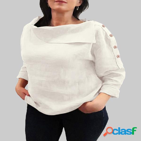 Blusa de lapela casual cor sólida mangas compridas para mulheres