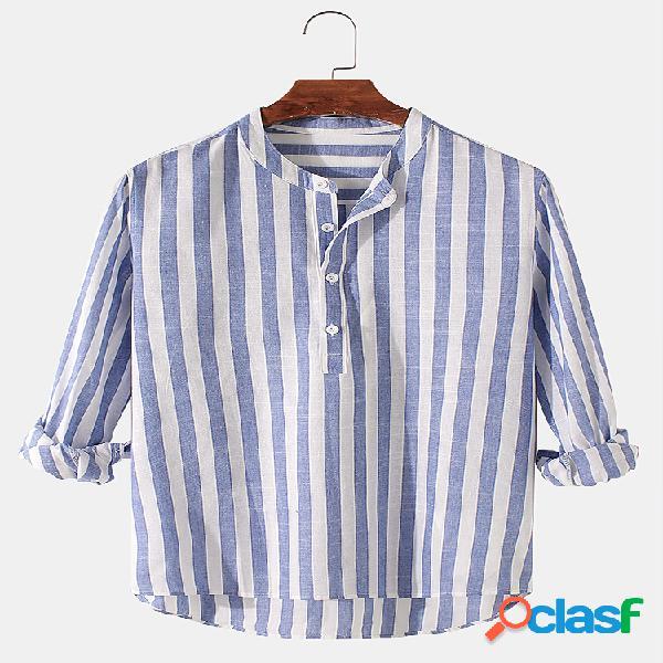 Masculino básico listrado de algodão com bainha alta e baixa gola casual manga comprida camisas henley