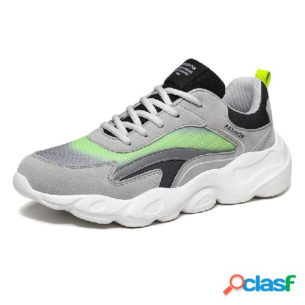 Masculino colorblock malha tecido respirável soft sola esportiva running chunky tênis