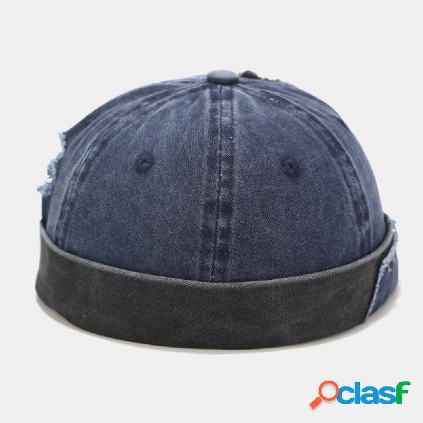 Algodão masculino e feminino feito de remendo lavado, furo, patchwork cor casual yuppie sem aba landlord chapéu caveira chapéu gorro