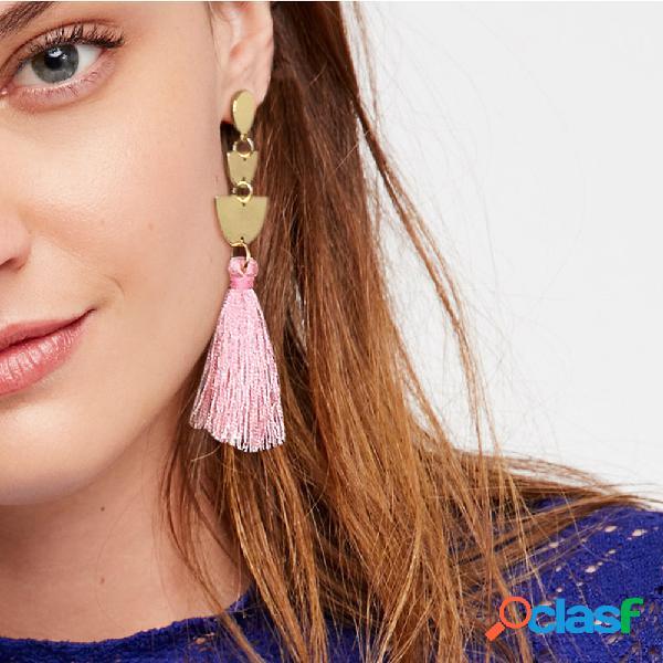 Bohemia semicircle orelha stud multi-color long tassel feminino pingente brincos