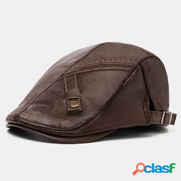 Collrown homens couro sintético cor sólida casual vintage ajustável para a frente chapéu boina chapéu