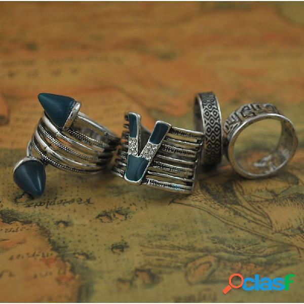 Conjunto de anéis esculpidos com 4 peças de metal vintage oco anéis femininos com letras em v de strass