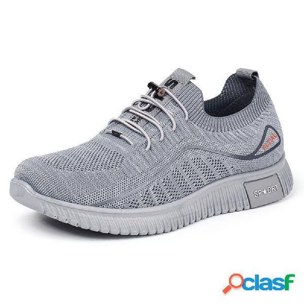 Sapatos de caminhada masculinos em tecido de malha respirável soft com sola antiderrapante